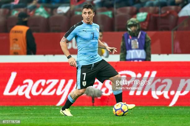 Cristian Rodriguez from Uruguay controls the ball while Poland v Uruguay International Friendly soccer match at National Stadium on November 10 2017...