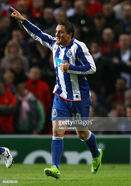 Cristian Rodriguez of FC Porto celebrates after scoring the opening goal during the UEFA Champions League Quarter Final First Leg match between...