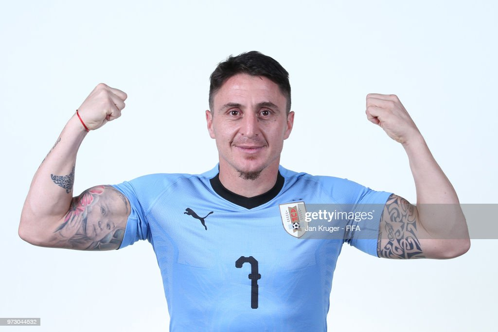 Cristian Rodriguez of Uruguay poses for a portrait during the official FIFA World Cup 2018 portrait session at Borsky Sport Centre on June 12, 2018 in Nizhniy Novgorod, Russia.