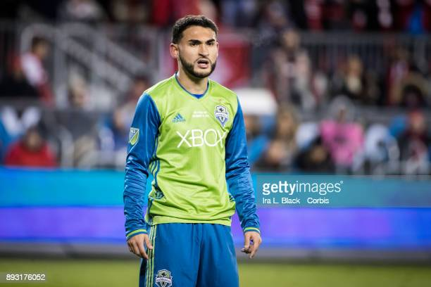 Cristian Roldan of Seattle Sounders shows his frustration during the 2017 Audi MLS Championship Cup match between Toronto FC and Seattle Sounders FC...