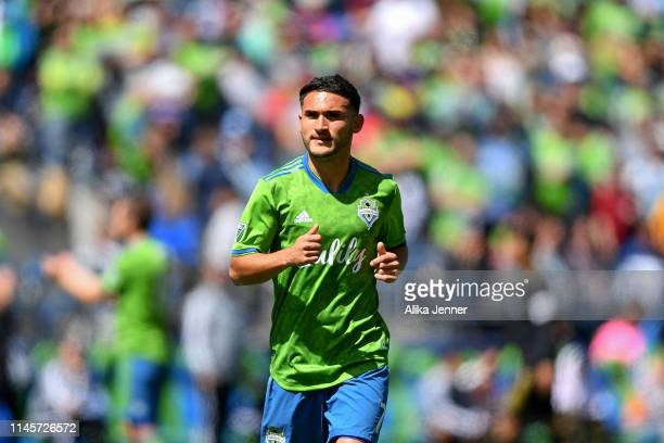 Cristian Roldan of the Seattle Sounders is ejected from the match for violent conduct during the first half of the match against the Los Angeles FC...