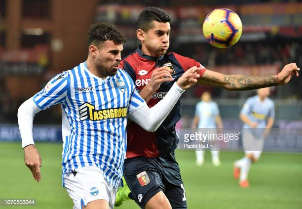 Cristian Romero of Genoa and Andrea Petagna of Spal during the Serie A match between Genoa CFC and SPAL at Stadio Luigi Ferraris on December 9 2018...