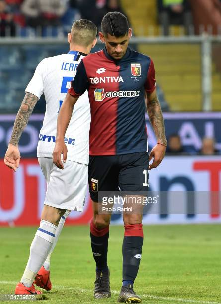 Cristian Romero of Genoa CFC reacts during the Serie A match between Genoa CFC and FC Internazionale at Stadio Luigi Ferraris on April 3 2019 in...