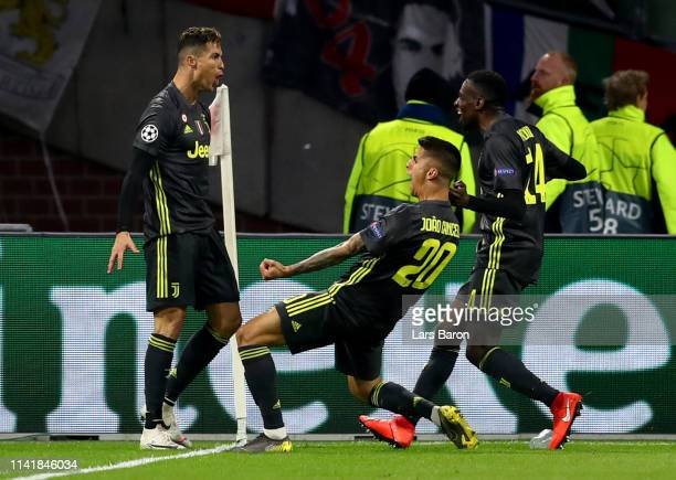 Cristian Ronaldo of Juventus celebrates after scoring his teams first goal during the UEFA Champions League Quarter Final first leg match between...