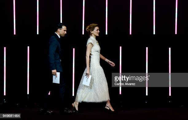 Cristian Sanchez and Marta Nieto during the 21th Malaga Film Festival closing ceremony at the Cervantes Teather on April 21 2018 in Malaga Spain