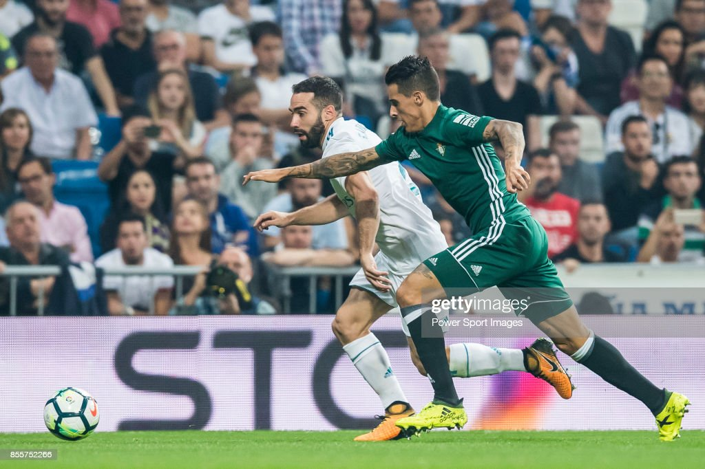 Cristian Tello Herrera R Of Real Betis Fights For The Ball With Daniel Carvajal