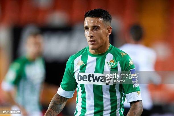 Cristian Tello looks on during the La Liga Santander match between Valencia CF and Real Betis at Estadio Mestalla on October 03, 2020 in Valencia,...