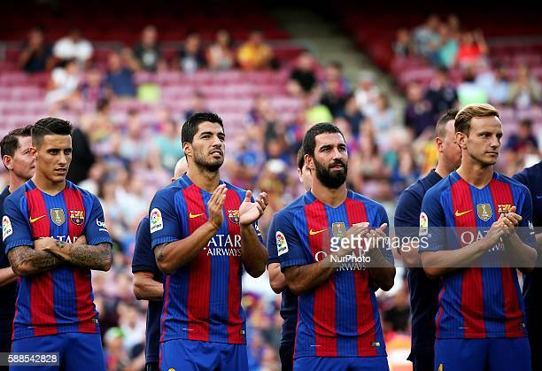 Cristian Tello Luis Suarez Arda Turan and Ivan Rakitic during the presentation of the Barcelona team 201617 held in the Camp Nou stadium on august 10...