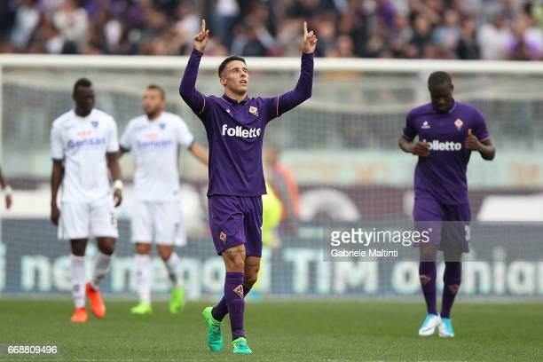 Cristian Tello of ACF Fiorentina celebrates after scoring a goal during the Serie A match between ACF Fiorentina and Empoli FC at Stadio Artemio...