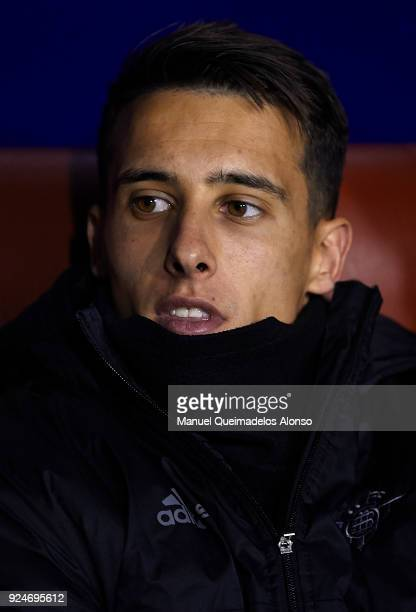 Cristian Tello of Betis looks on prior to the La Liga match between Levante and Real Betis at Ciudad de Valencia Stadium on February 26 2018 in...