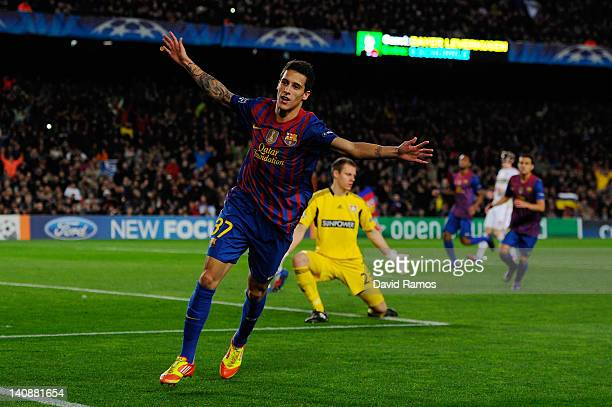 Cristian Tello of FC Barcelona celebrates after scoring his team's fourth goal during the UEFA Champions League round of 16 second leg match between...
