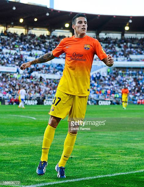 Cristian Tello of FC Barcelona celebrates after scoring his team's second goal during the la Liga match between FC Barcelona and Real Zaragoza at La...
