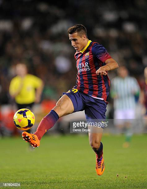 Cristian Tello of FC Barcelona controls the ball during the La Liga match between Real Betis Balompie and FC Barcelona at Estadio Benito Villamarin...