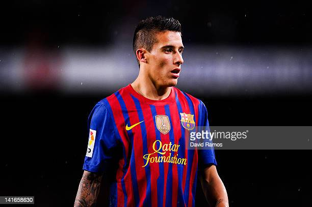Cristian Tello of FC Barcelona looks on during the La Liga match between FC Barcelona and Granada CF at Camp Nou on March 20, 2012 in Barcelona,...