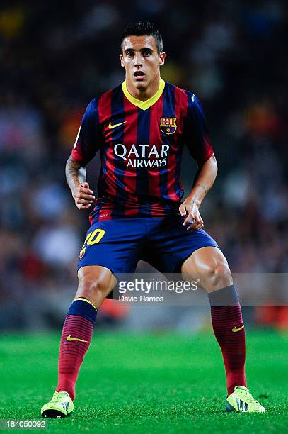 Cristian Tello of FC Barcelona looks on during the La Liga match between FC Barcelona and Real Valladolid CF at Camp Nou on October 5 2013 in...