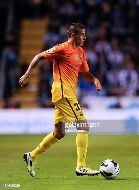 Cristian Tello of FC Barcelona runs with the ball during the La Liga match between Deportivo La Coruna and FC Barcelona at Riazor Stadium on October...