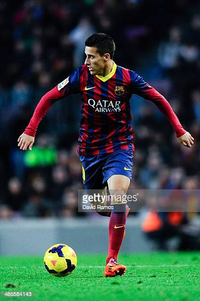 Cristian Tello of FC Barcelona runs with the ball during the La Liga match between FC Barcelona and Elche FC at Camp Nou on January 5 2014 in...