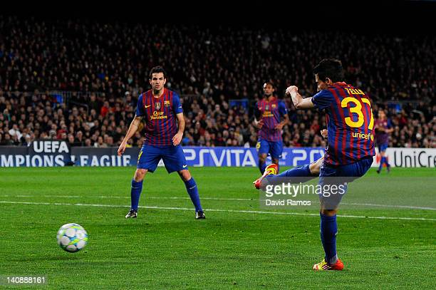Cristian Tello of FC Barcelona scores his team's fifth goal during the UEFA Champions League round of 16 second leg match between FC Barcelona and...