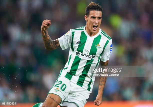 Cristian Tello of Real Betis Balompie celebrates after scoring during the La Liga match between Real Betis and Valencia at Estadio Benito Villamarin...