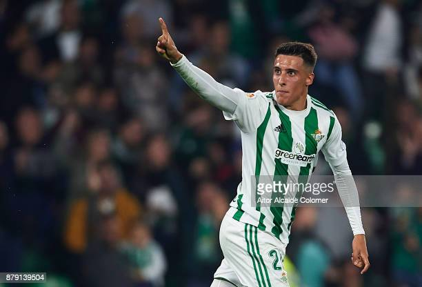Cristian Tello of Real Betis Balompie celebrates after scoring the second goal for Real Betis Balompie during the La Liga match between Real Betis...