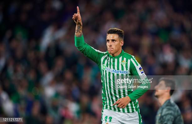 Cristian Tello of Real Betis Balompie celebrates scoring his team's goal during the Liga match between Real Betis Balompie and Real Madrid CF at...