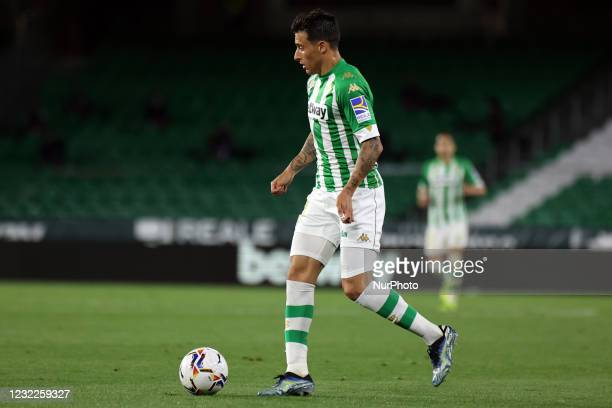 Cristian Tello of Real Betis Balompie during the La Liga Santander match between Real Betis and Atletico de Madrid at Estadio Benito Vilamarin in...