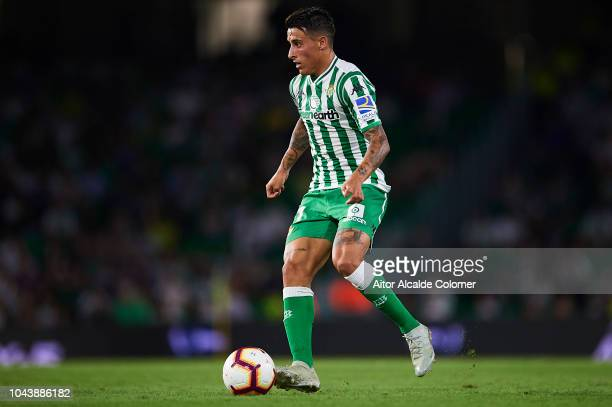 Cristian Tello of Real Betis Balompie in action during the La Liga match between Real Betis Balompie and CD Leganes at Estadio Benito Villamarin on...