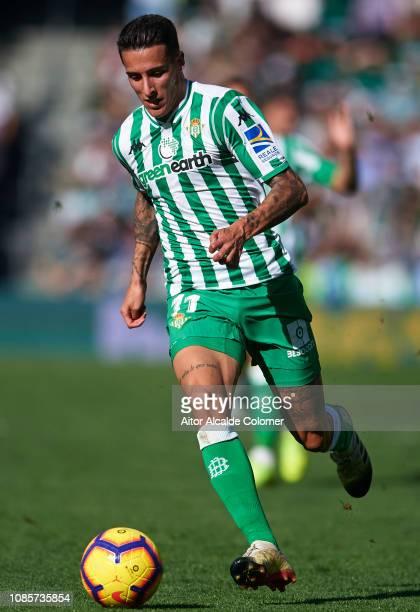 Cristian Tello of Real Betis Balompie in action during the La Liga match between Real Betis Balompie and SD Eibar at Estadio Benito Villamarin on...