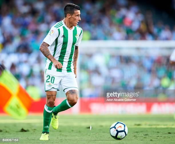 Cristian Tello of Real Betis Balompie in action during the La Liga match between Real Betis and Deportivo La Coruna at Estadio Benito Villamarin on...