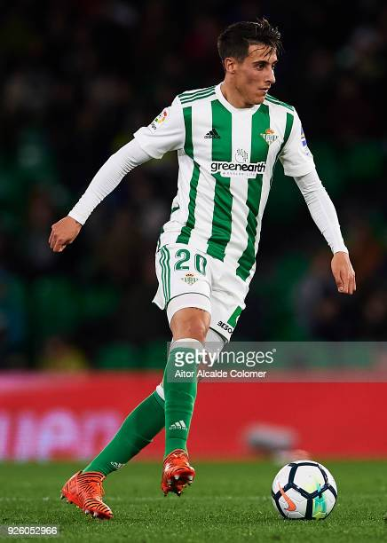 Cristian Tello of Real Betis Balompie in action during the La Liga match between Real Betis and Real Sociedad at Estadio Benito Villamarin on March 1...