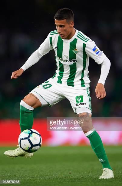 Cristian Tello of Real Betis Balompie in action during the La Liga match between Real Betis and Las Palmas at Estadio Benito Villamarin on April 19...