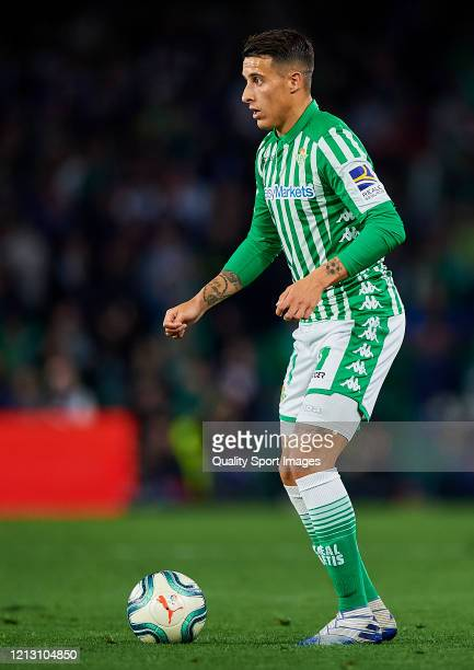 Cristian Tello of Real Betis Balompie in action during the Liga match between Real Betis Balompie and Real Madrid CF at Estadio Benito Villamarin on...
