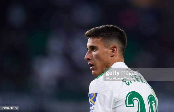 Cristian Tello of Real Betis Balompie looks on during the Copa del Rey Round of 32 Second Leg match between Real Betis Balompie and Cadiz CF at...