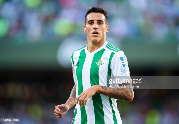 Cristian Tello of Real Betis Balompie looks on during the La Liga match between Real Betis and Deportivo La Coruna at Estadio Benito Villamarin on...