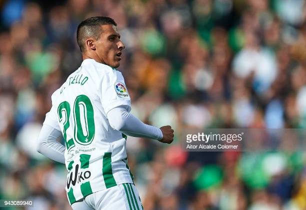 Cristian Tello of Real Betis Balompie looks on during the La Liga match between Real Betis and Eibar at Estadio Benito Villamarin on April 7 2018 in...