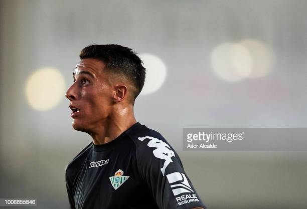 Cristian Tello of Real Betis Balompie looks on during the Preseason match between Real Betis and Lille OSC at Estadio Chapin on July 28, 2018 in...