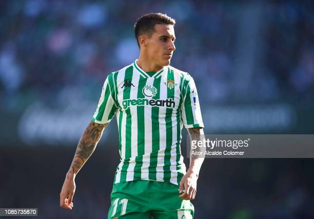 Cristian Tello of Real Betis Balompie reacts during the La Liga match between Real Betis Balompie and SD Eibar at Estadio Benito Villamarin on...