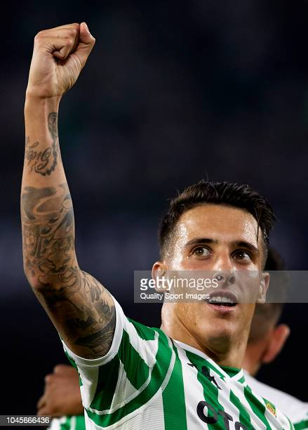 Cristian Tello of Real Betis celebrates after scoring his sides third goal during the UEFA Europa League Group F match between Real Betis and F91...