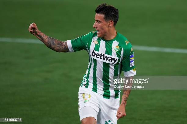 Cristian Tello of Real Betis celebrates after scoring his team's first goal during the La Liga Santander match between Real Betis and Atletico de...