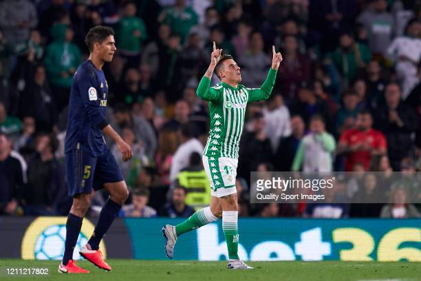 Cristian Tello of Real Betis celebrates after scoring his team's second goal during the La Liga match between Real Betis Balompie and Real Madrid CF...
