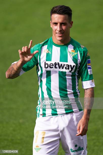 Cristian Tello of Real Betis celebrates after scoring his team's second goal during the La Liga Santander match between Real Betis and Elche CF at...