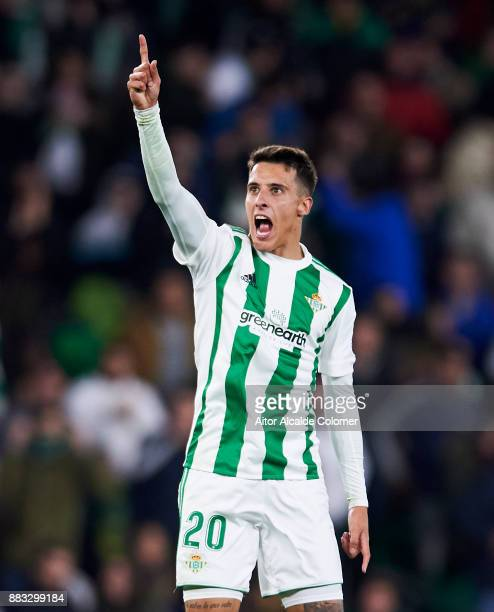 Cristian Tello of Real Betis celebrates after scoring his team's third goal during the Copa del Rey Round of 32 Second Leg match between Real Betis...