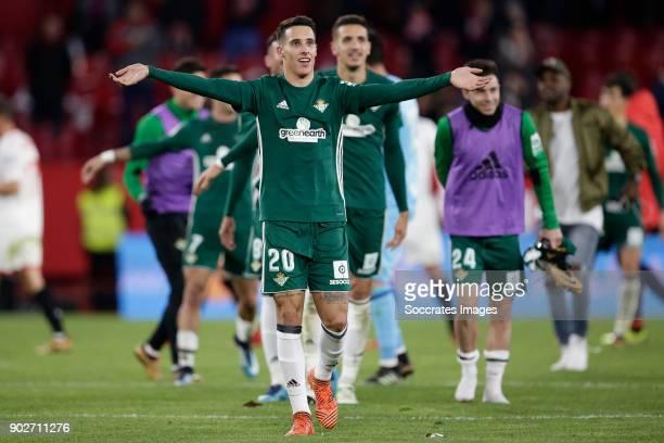 Cristian Tello of Real Betis celebrates the victory during the La Liga Santander match between Sevilla v Real Betis Sevilla at the Estadio Ramon...