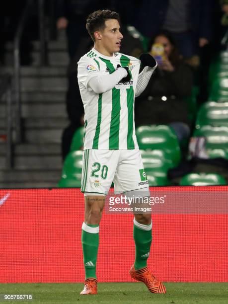 Cristian Tello of Real Betis during the La Liga Santander match between Real Betis Sevilla v Leganes at the Estadio Benito Villamarin on January 15...