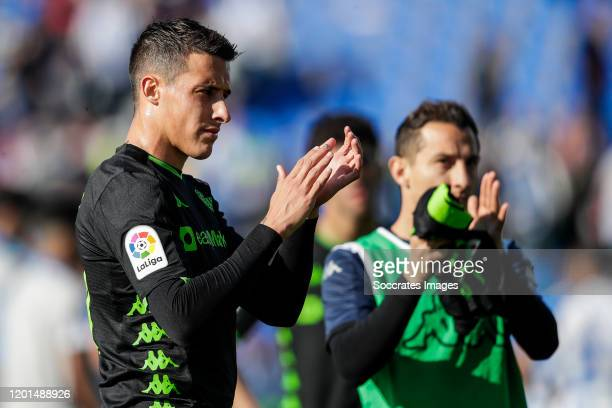 Cristian Tello of Real Betis during the La Liga Santander match between Leganes v Real Betis Sevilla at the Estadio Municipal de Butarque on February...