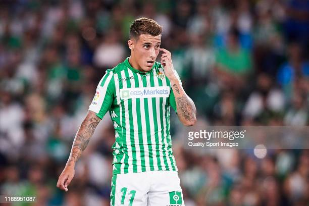 Cristian Tello of Real Betis looks on during the Liga match between Real Betis Balompie and Real Valladolid CF at Estadio Benito Villamarin on August...