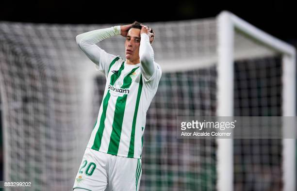 Cristian Tello of Real Betis reacts during the Copa del Rey Round of 32 Second Leg match between Real Betis Balompie and Cadiz CF at Estadio Benito...