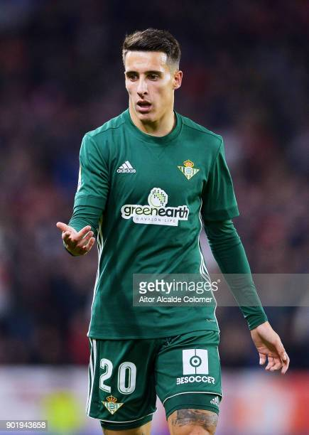 Cristian Tello of Real Betis reacts during the La Liga match between Sevilla FC and Real Betis Balompie at Estadio Ramon Sanchez Pizjuan on January 6...