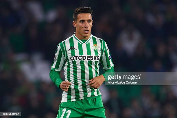 Cristian Tello of Real Betis reacts during the UEFA Europa League Group F match between Real Betis Balompie and Olympiacos FC at Estadio Benito...