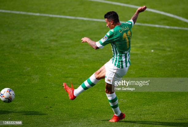 Cristian Tello of Real Betis scores his team's second goal during the La Liga Santander match between Real Betis and Elche CF at Estadio Benito...